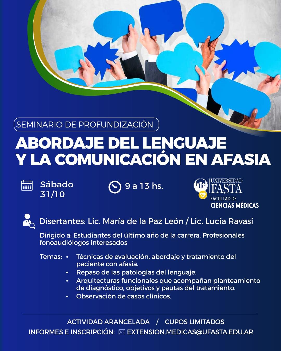 """Seminario de Profundización """"Abordaje del lenguaje y la comunicación en Afasia"""""""