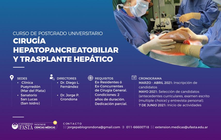 Curso Universitario de Postgrado en Cirugía Hepatopancreatobiliar y Trasplante Hepático
