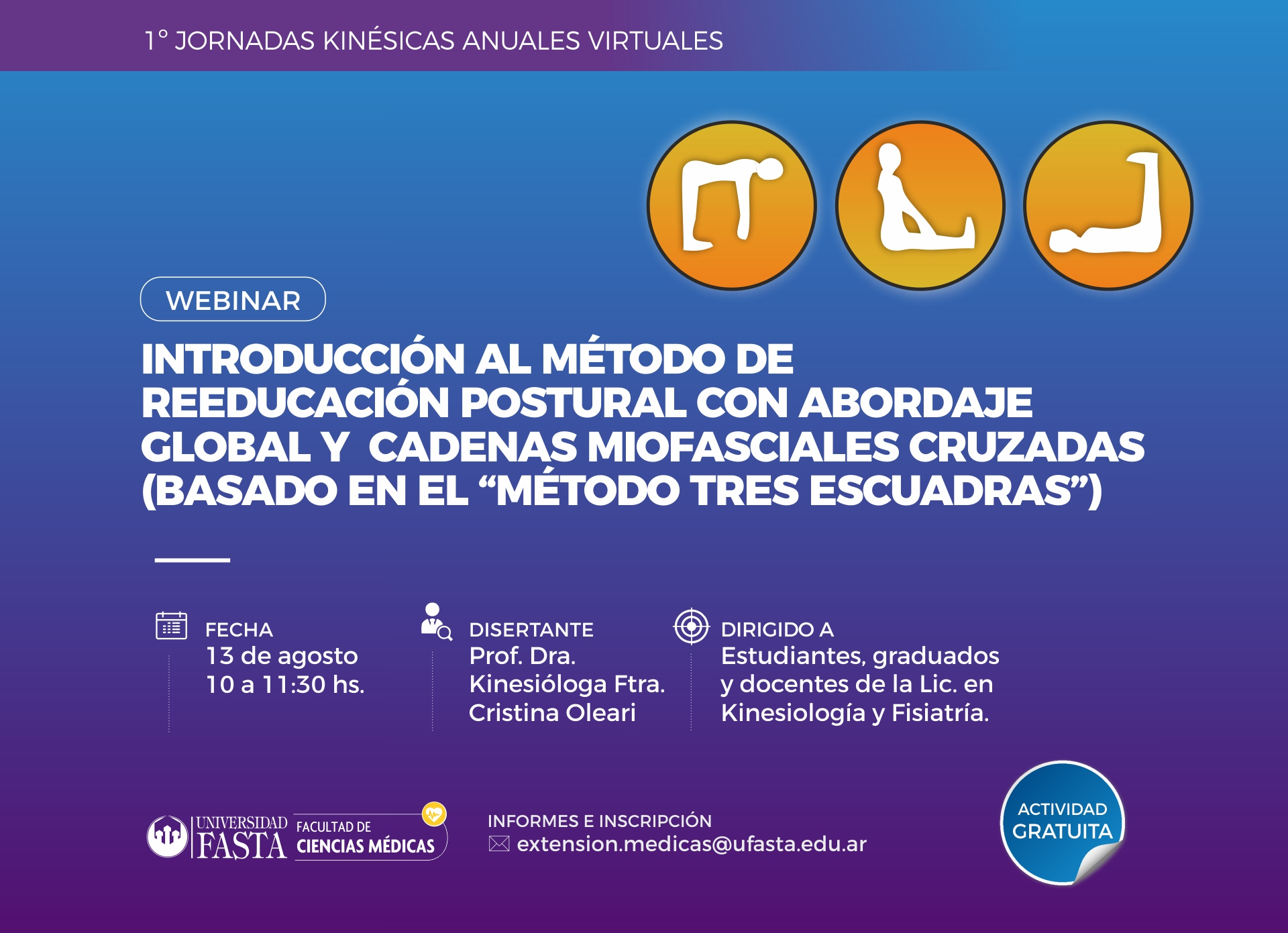 """Webinar -Introducción al método de Reeducación Postural con abordaje Global y cadenas miofasciales cruzadas, basado en el """"Método Tres Escuadras"""""""